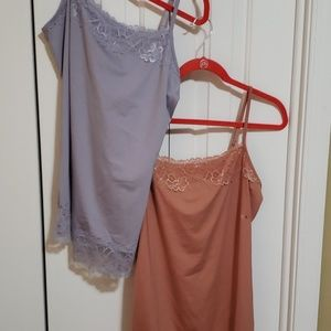 2 maurices lace trimmed camisoles